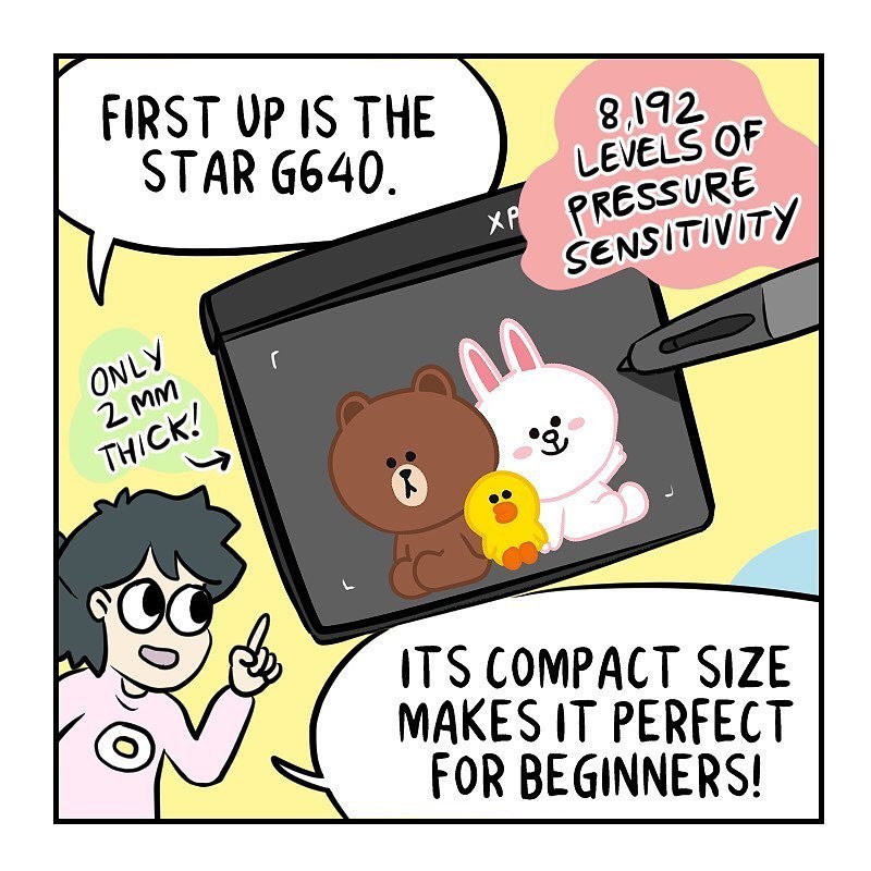 "Adorable comic from @dami_lee, ""I like drawing on these tablets because whenever I have art block, I imagine the characters smiling up at me as if to say, you're doing great!"" 🤩"